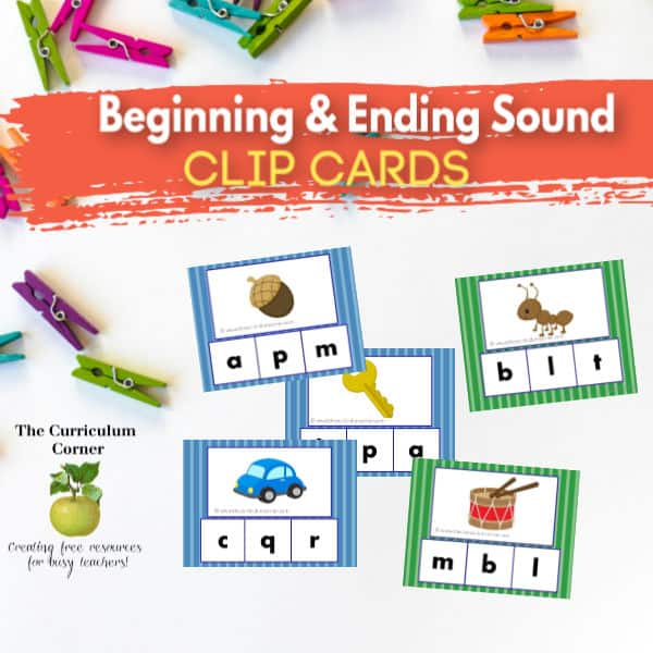 Beginning & Ending Sound Clip Cards