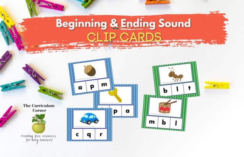 beginning sound clip card