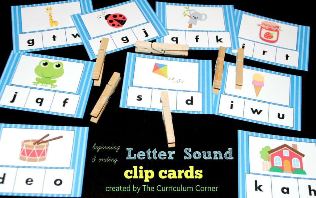 Beginning & Ending Letter Sounds Clip Cards FREE from The Curriculum Corner for beginning readers