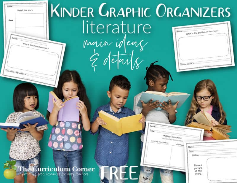Download these free kindergarten graphic organizers for focusing on main idea and details in literature.