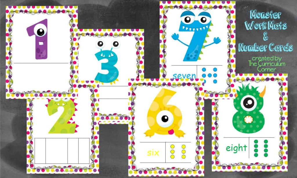 Monster Themed Number Mats free from The Curriculum Corner PLUS tons of resources for 10 frames