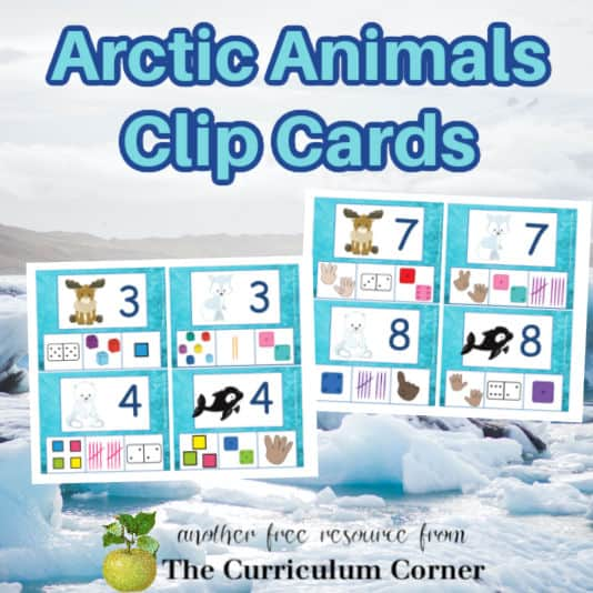 Arctic Animals Clip Cards for Counting