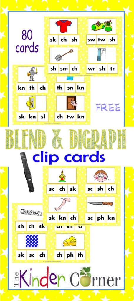 Blend & Digraph Sounds Clip Cards FREE from The Curriculum Corner   Word Work   Literacy Centers