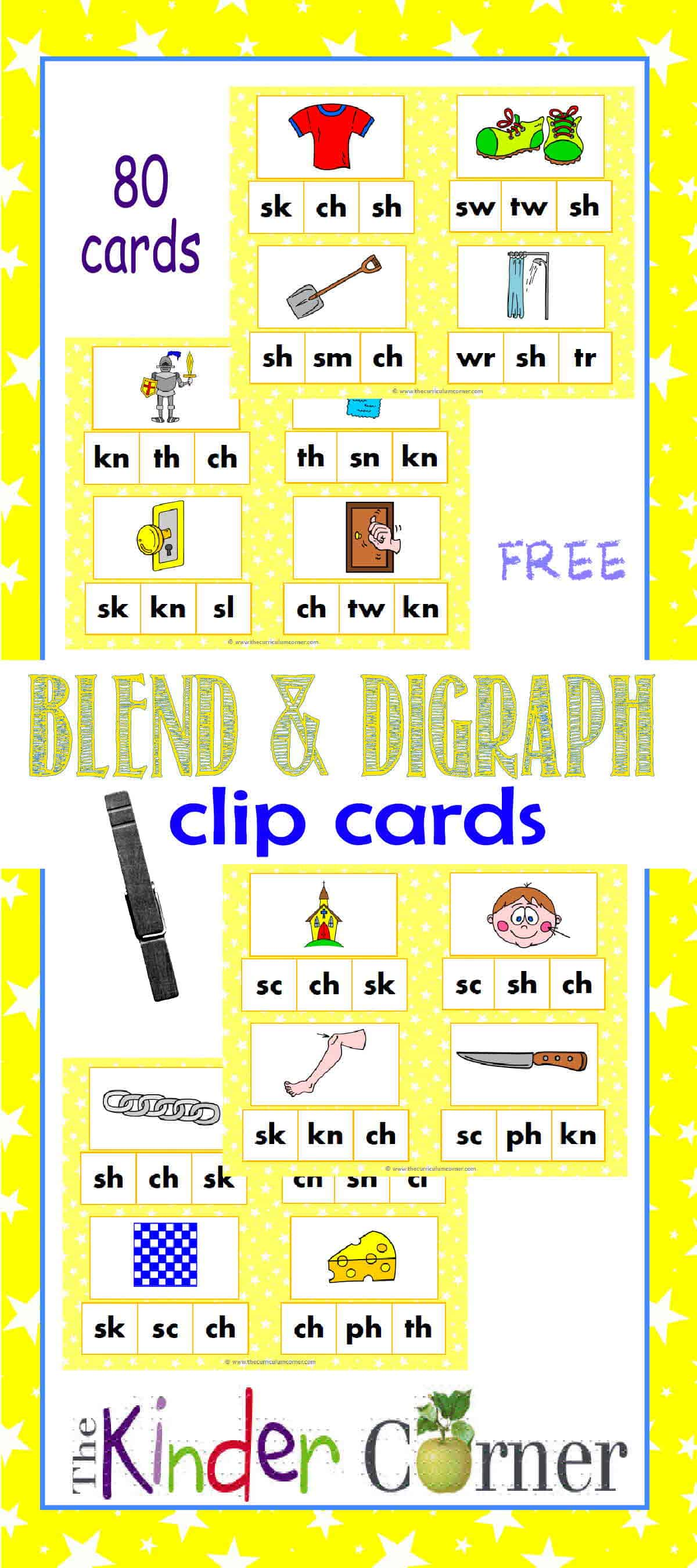 Blends & Digraphs Clip Cards