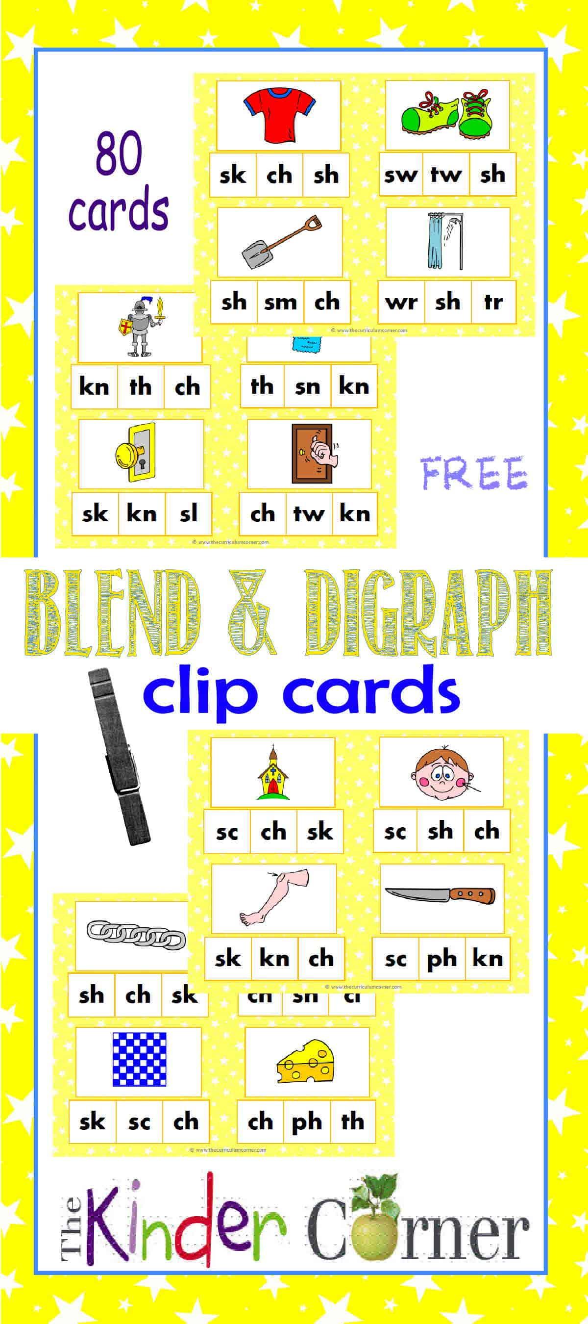 Blends & Digraphs Clip Cards