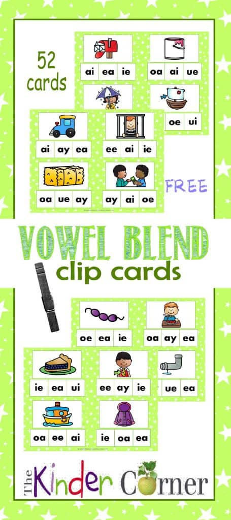 Vowel Blend Clip Cards FREE from The Curriculum Corner   Word Work   Literacy Centers