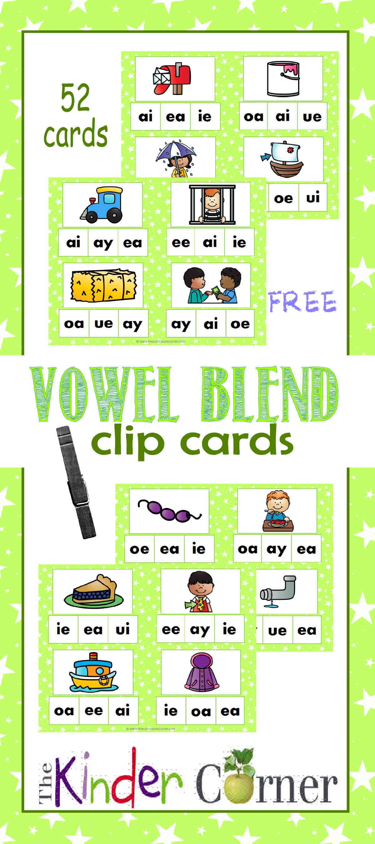 Vowel Blend Clip Cards – Literacy Center