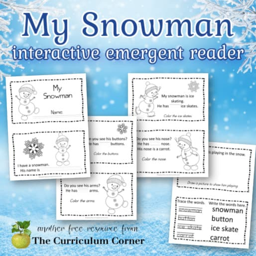 Snowman Emergent Reader Booklet