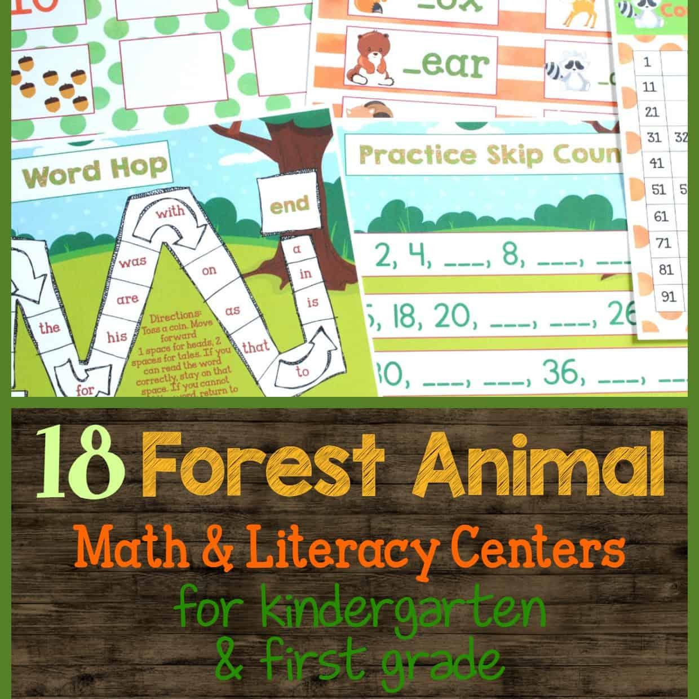 Forest Animals Math & Literacy Centers