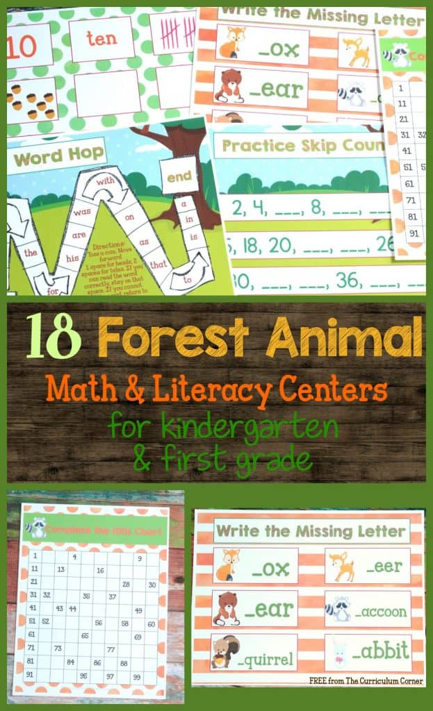 WOW! 18 Forest Animal Math & Literacy Centers for kindergarten & first grades - FREE from The Curriculum Corner