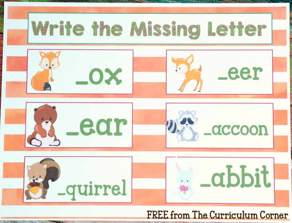 FREEBIE! 18 Forest Animal Math & Literacy Centers for kindergarten & first grades - FREE from The Curriculum Corner