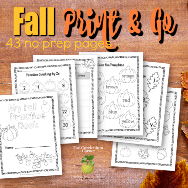 Fall Print & Go Math and Literacy Practice