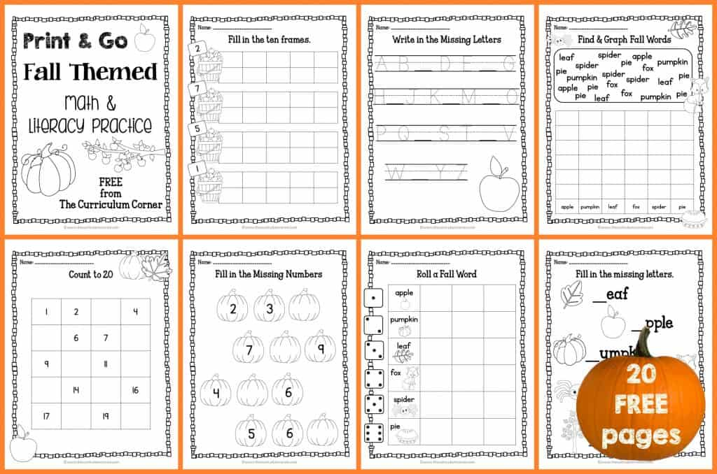 20 FREE Pages! Print & Go Kindergarten Fall Practice Pages from The Curriculum Corner