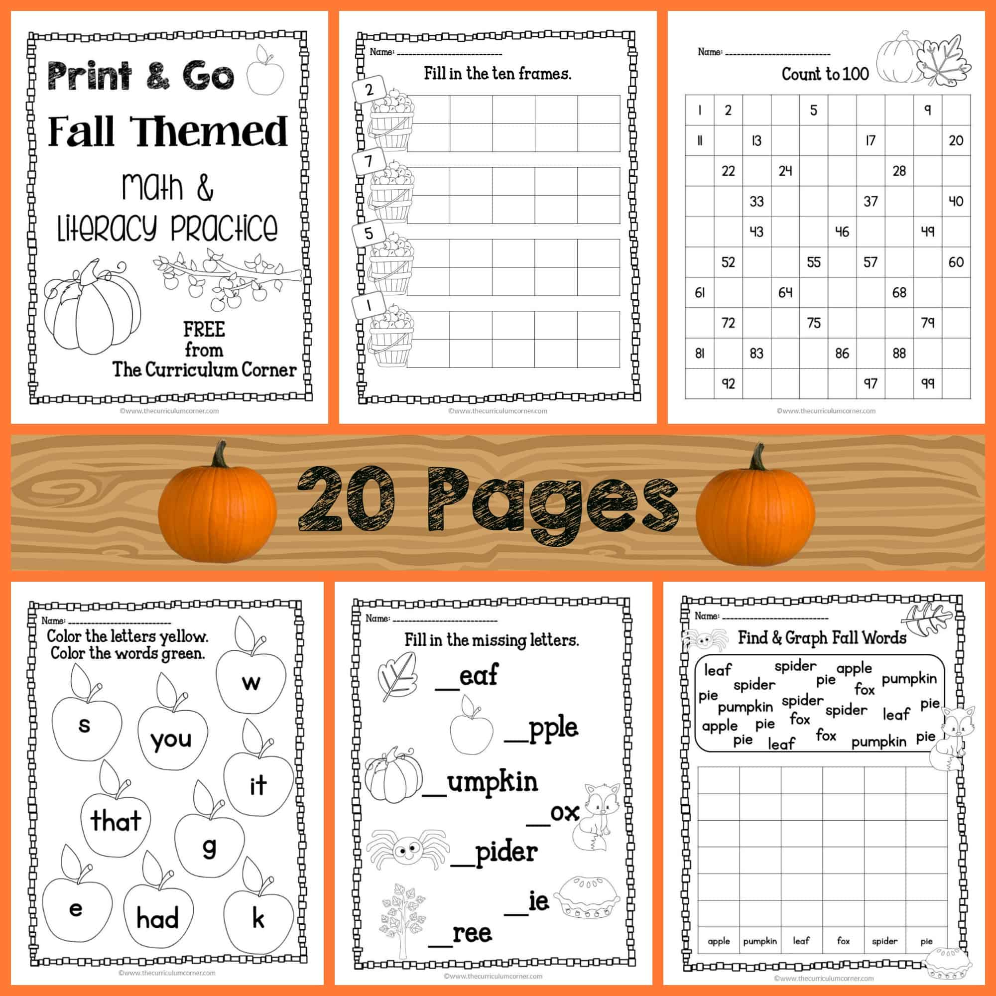 Fall Print & Go Math and Literacy Practice - The Kinder Corner