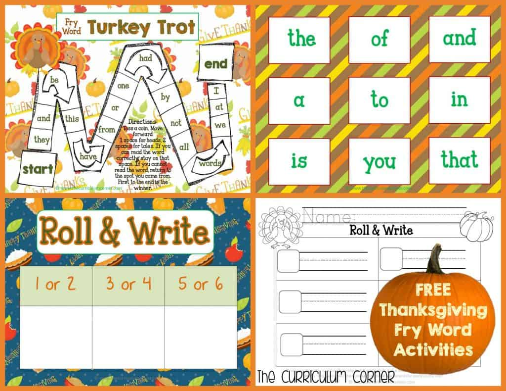 FREE Thanksgiving Math & Literacy Centers from The Curriculum Corner | Fry Words | Math | Letters | FREEBIE | Write the Room