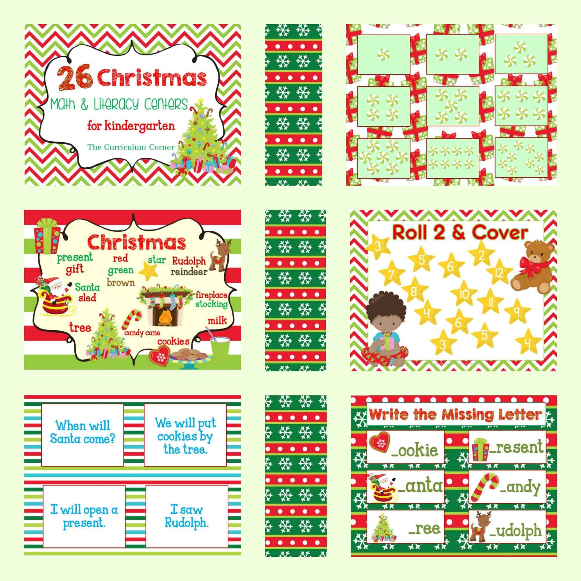 Christmas Math.Christmas Math Literacy Centers The Kinder Corner