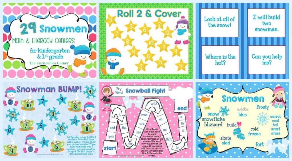 FREE Snowman Math & Literacy Centers from The Curriculum Corner | kindergarten | 1st grade | winter | snowmen