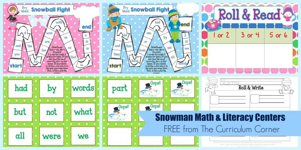 FREE Snowman Math & Literacy Centers from The Curriculum Corner   kindergarten   1st grade   winter   snowmen   FREEBIES!
