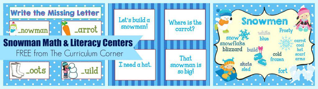 FREE Snowman Math & Literacy Centers from The Curriculum Corner | kindergarten | 1st grade | winter | snowmen | skill practice