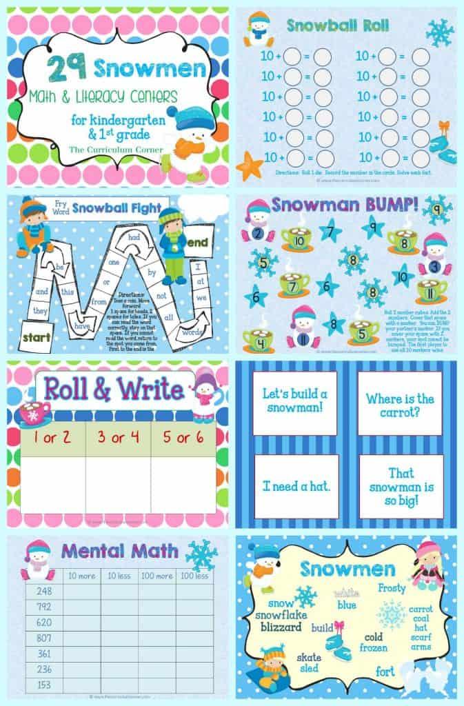 FREE Snowman Math & Literacy Centers from The Curriculum Corner   kindergarten   1st grade   winter   snowmen   FREEBIES!   skill practice