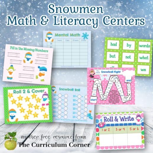 Snowmen Math & Literacy Centers