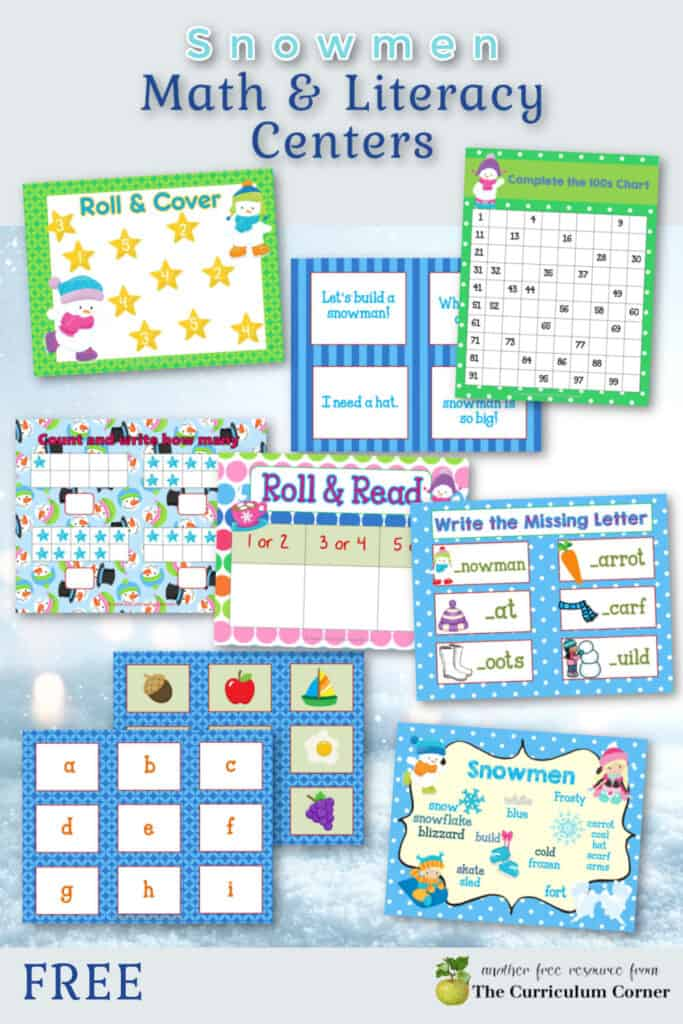 Use these colorful snowmen math and literacy centers to help you put together your winter themed classroom rotations.