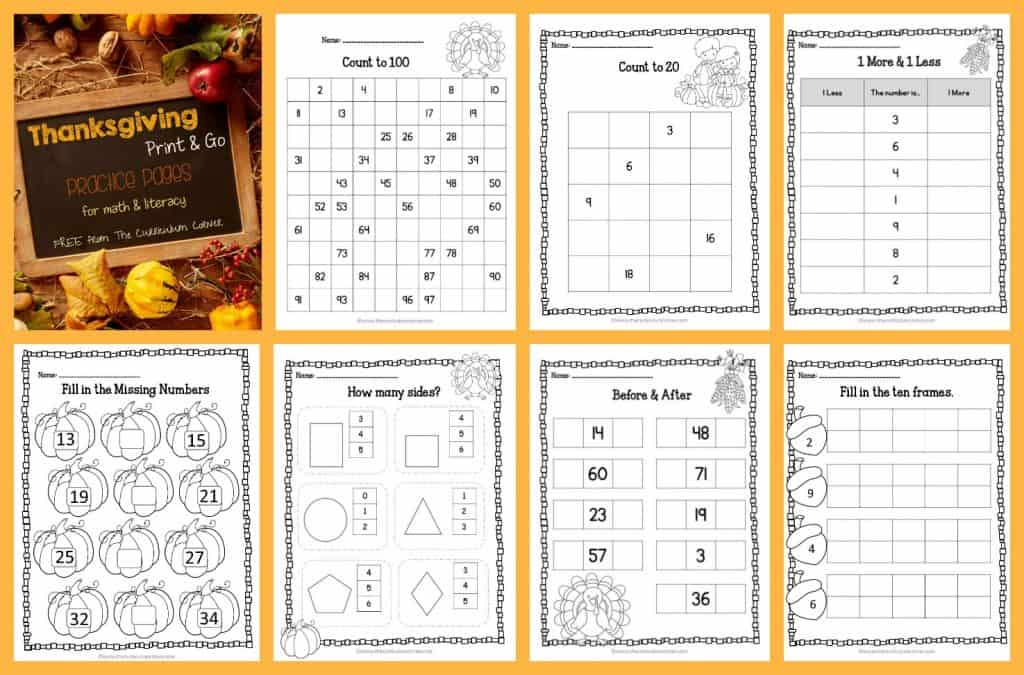 FREE Thanksgiving Print & Go Practice Pages for math & literacy practice | The Curriculum Corner, counting, Fry words, shapes
