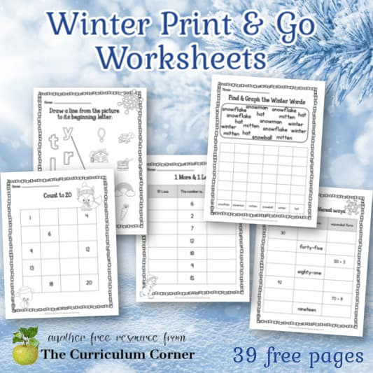 Winter Print & Go Practice Pages