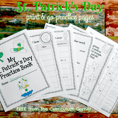St. Patrick's Day Print & Go Practice Pages