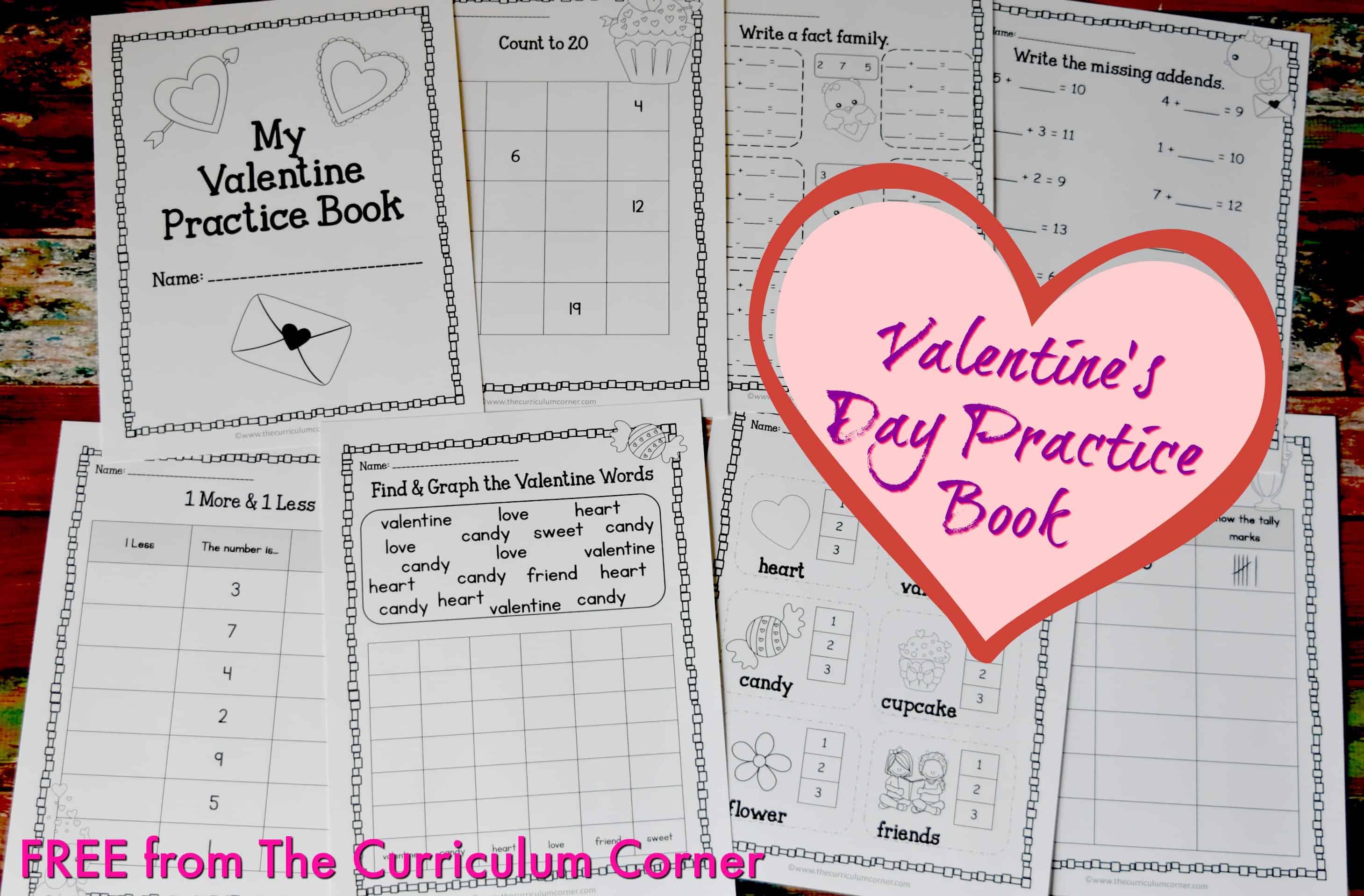 Valentine Print & Go Practice Pages - The Kinder Corner