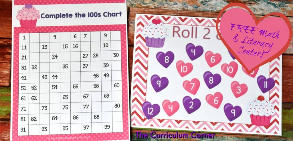 FREE Valentine's Day Math & Literacy Centers from The Curriculum Corner