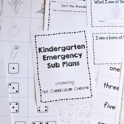 Kindergarten Sub Plans – Set 2