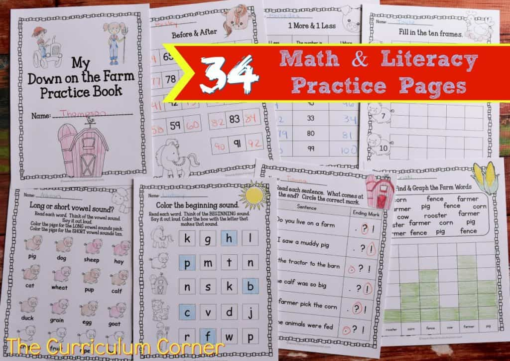 FREE Farm Print & Go Practice Pages (Farm Worksheets) from The Curriculum Corner