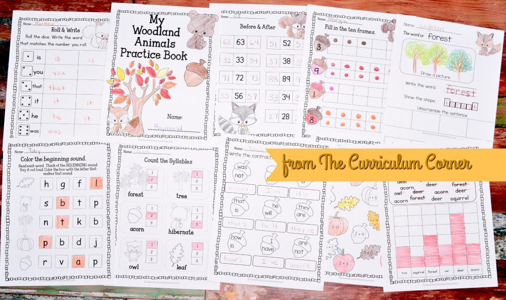 FREE Woodland Animals Worksheets Print & Go Practice Pages for Math & Literacy from The Curriculum Corner