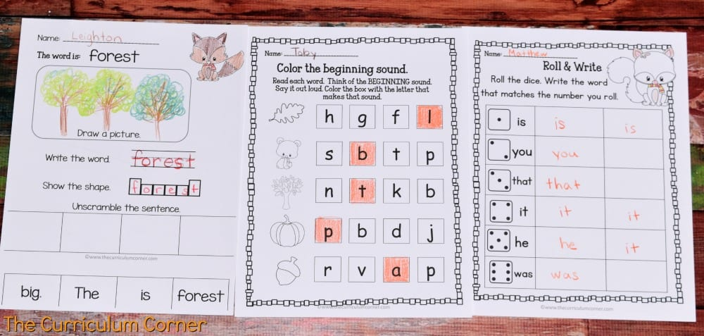 FREE Woodland Animals Print & Go Practice Pages for Math & Literacy from The Curriculum Corner 6