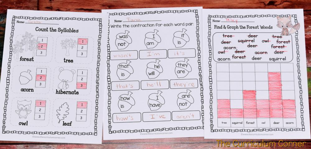 FREE Woodland Animals Print & Go Practice Pages for Math & Literacy from The Curriculum Corner 5