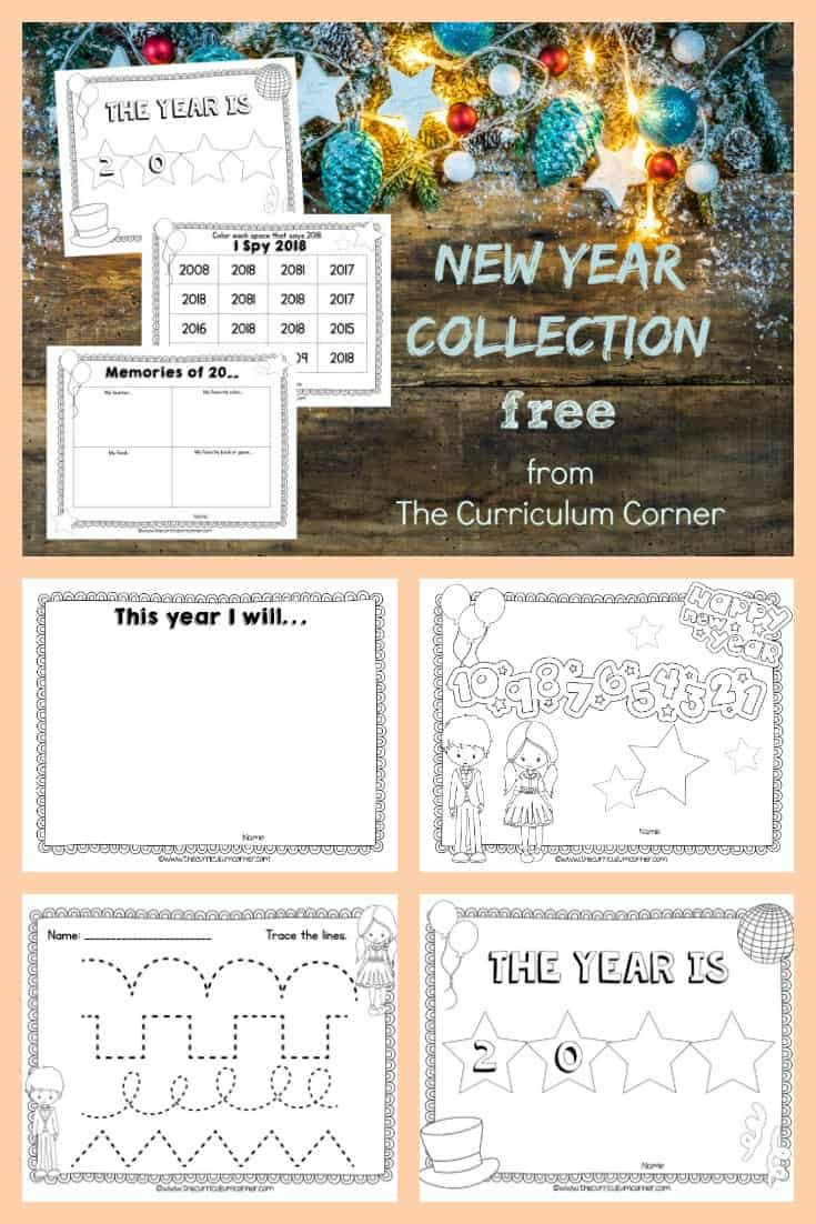 New Year Classroom Printables from The Curriculum Corner FREE