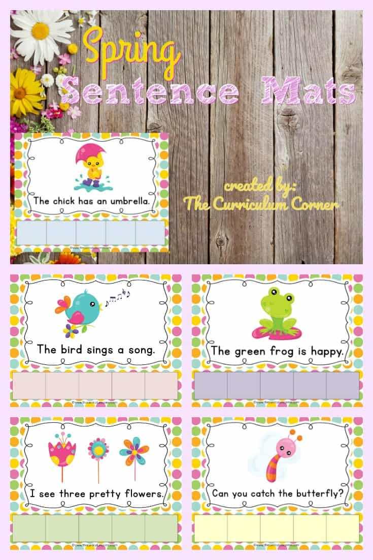 FREE Spring Sentence Mats from The Cu