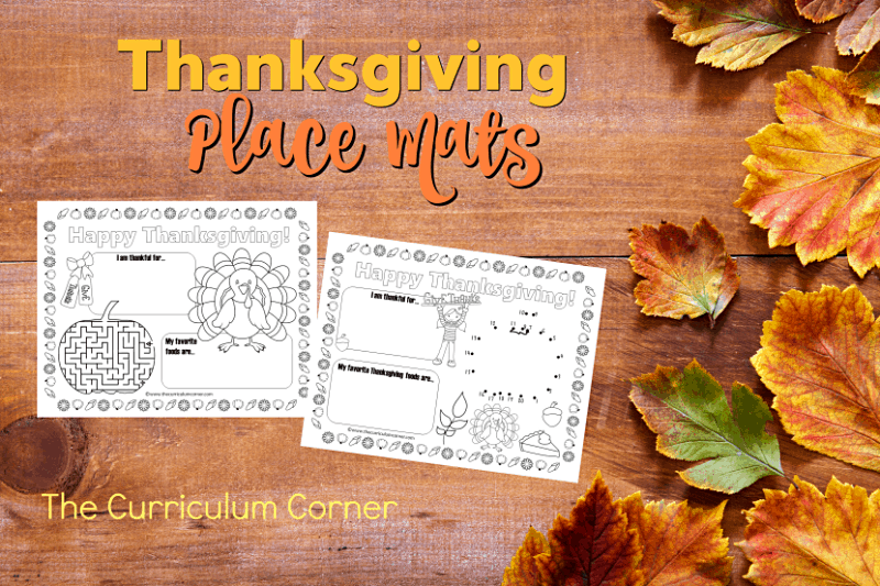 Use these fun and free Thanksgiving place mats to add a little fun to your Thanksgiving table - either at school or at home!