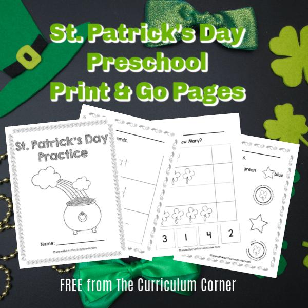 St. Patrick's Day Preschool Print & Go