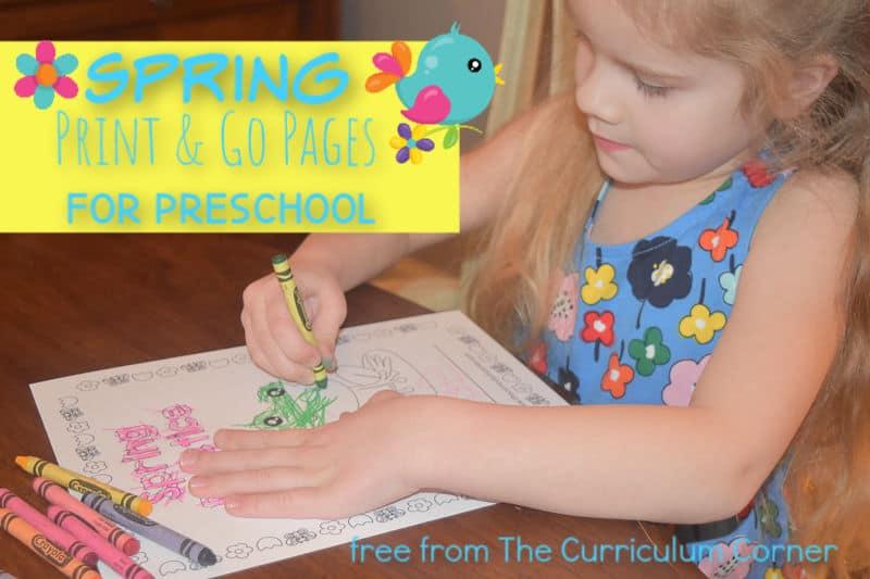 Spring Preschool Print & Go Pages