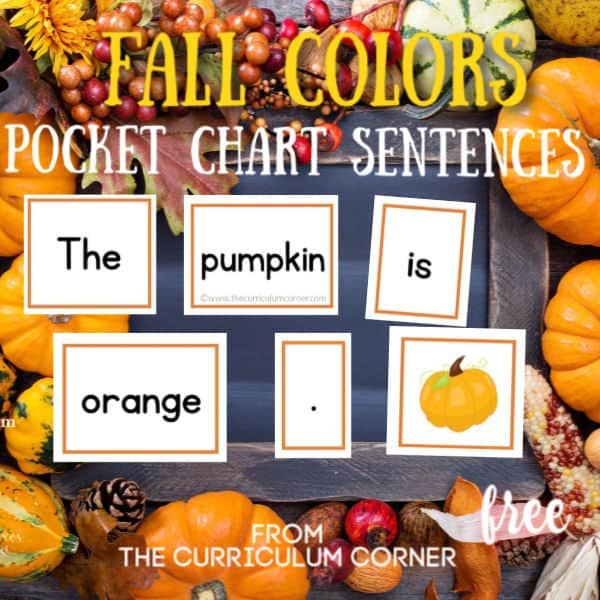Fall Pocket Chart Color Sentences