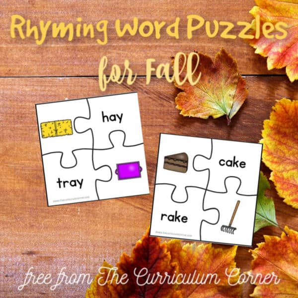 Fall Rhyming Word Puzzles