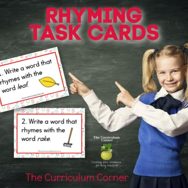 Write a Rhyming Word Task Cards