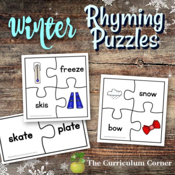 Winter Rhyme Word Puzzles