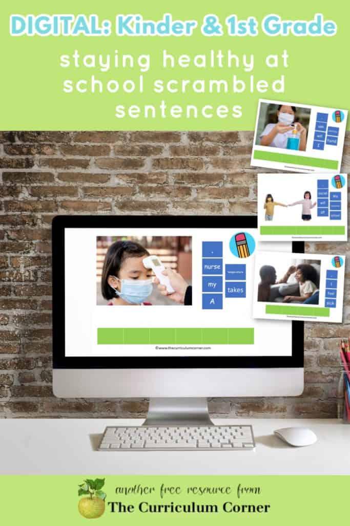 Kindergarten & 1st Grade Staying Healthy at School Sentences