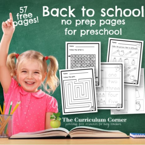 Back to School Preschool Print & Go