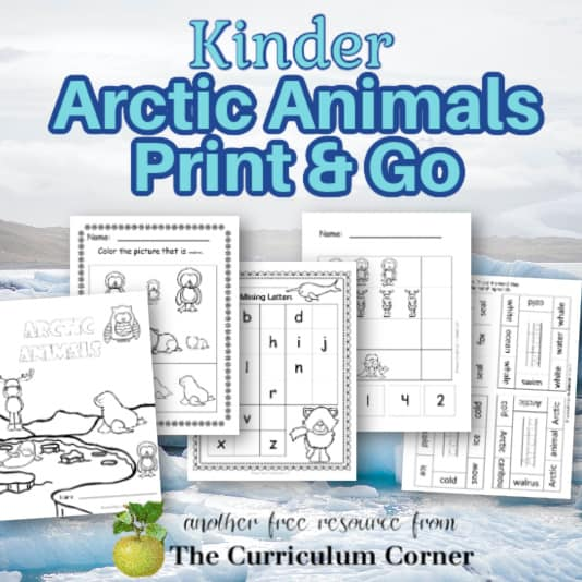 Kinder Arctic Learning Print & Go Pages