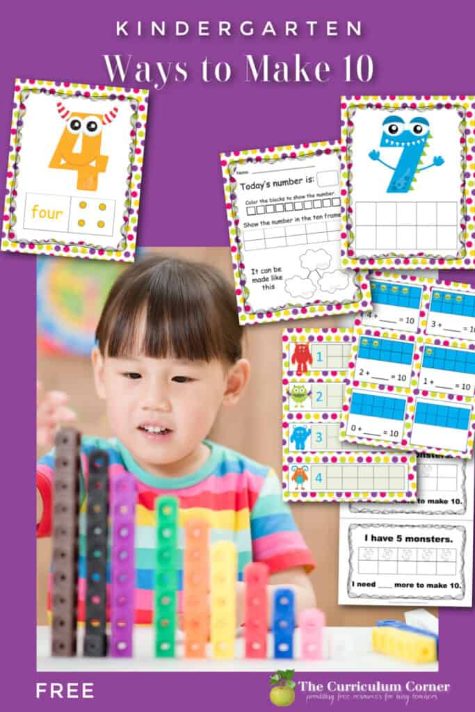 Download these kindergarten making tens worksheets and activities to help your students practice forming numbers up to ten. Free from The Curriculum Corner.