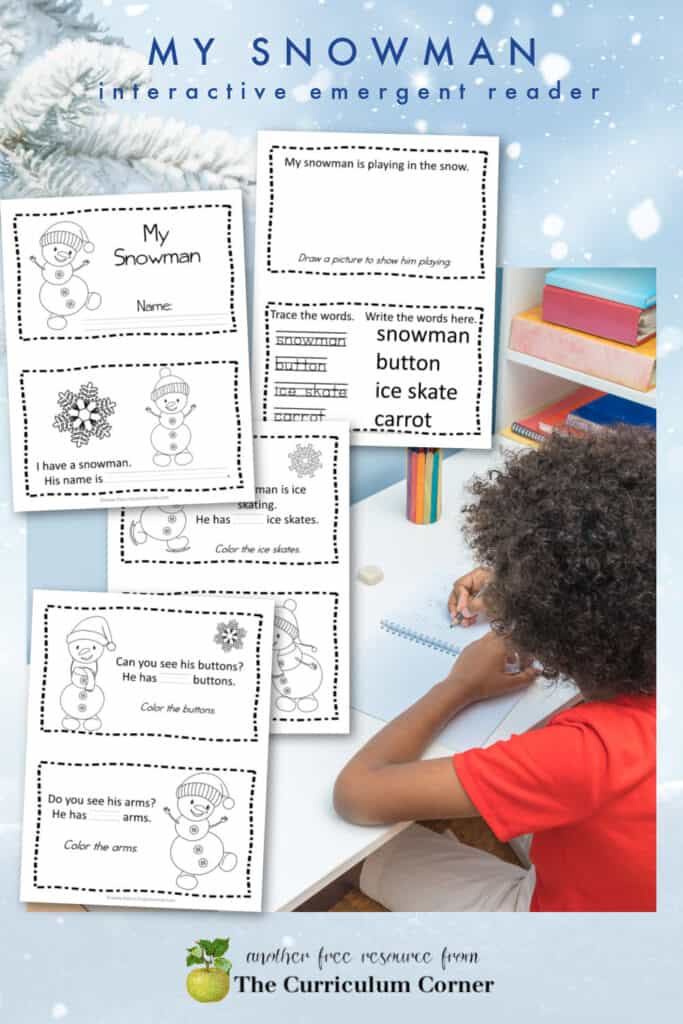 Download this free, simple snowman emergent reader for your beginning readers.